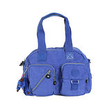 【Kipling】BASIC系列 肩背2用雙口袋機車包 冰河藍 K-373-3636-549