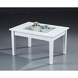 【空間生活】六宮格長方玻璃桌(白)