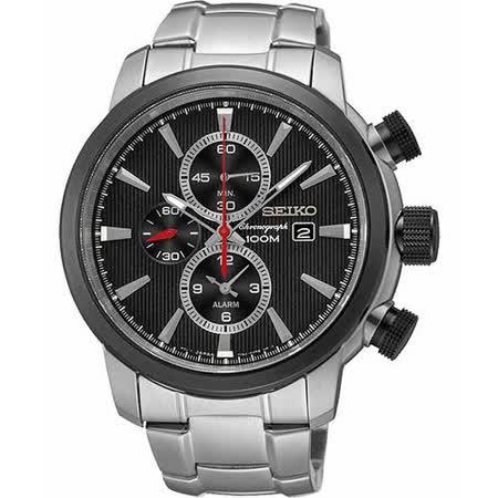 SEIKO 爭霸天下二地時區鬧鈴計時腕錶-黑 7T62-0LG0D