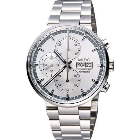 MIDO Commander 指揮官系列計時機械腕錶-銀 M0144141103100