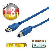 曜兆DIGITUS USB3.0A公轉B公線miniUSB3.0*1.8公尺藍色