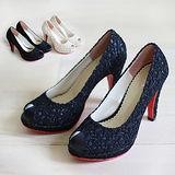 【Pretty】蕾絲金蔥魚口高跟鞋-米色/黑色