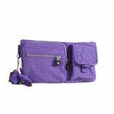 【Kipling】BASIC系列 長型多口袋腰包 靚亮紫 K-374-3192-647