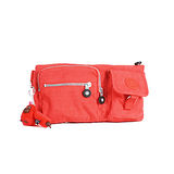 【Kipling】BASIC系列 長型多口袋腰包 鮮紅 K-374-3192-143