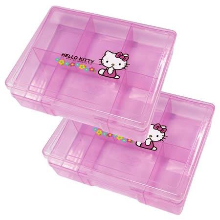 Hello Kitty小花六格收納盒KT0012-二入組