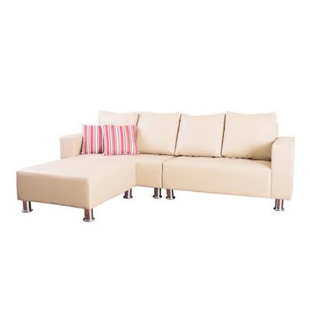 【Bernice】ECO高質感透氣皮L型沙發組260CM- 米色(抱枕顏色隨機)
