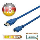 曜兆DIGITUS USB3.0A公轉microB公線*1.8公尺藍色
