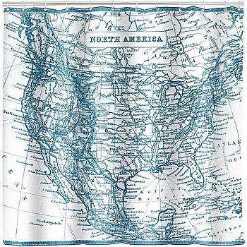 《KIKKERLAND》浴簾(古地圖)