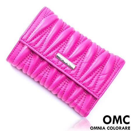 OMC - 韓國專櫃立體抓皺感多卡式真皮中夾-睛漾桃