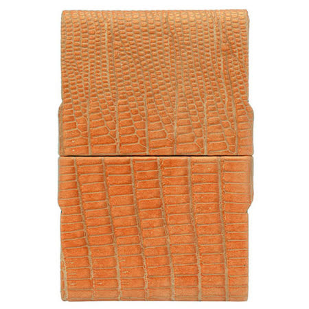 GIORGIO FEDON 1919 - 品味辦公 鱷紋短雙開名片盒-橘