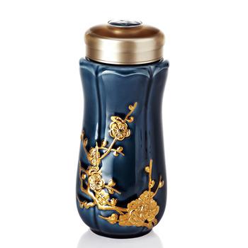 乾唐軒活瓷‧紅梅報春隨身杯( 大 / 雙層 / 鎏金+礦藍釉 )