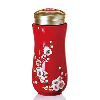 乾唐軒活瓷‧紅梅報春隨身杯( 大 / 雙層 / 鎏金+紅彩 )