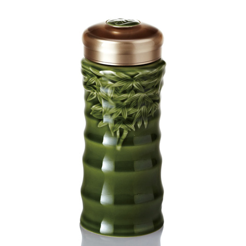 乾唐軒活瓷‧竹節隨身杯   大 單層 綠釉