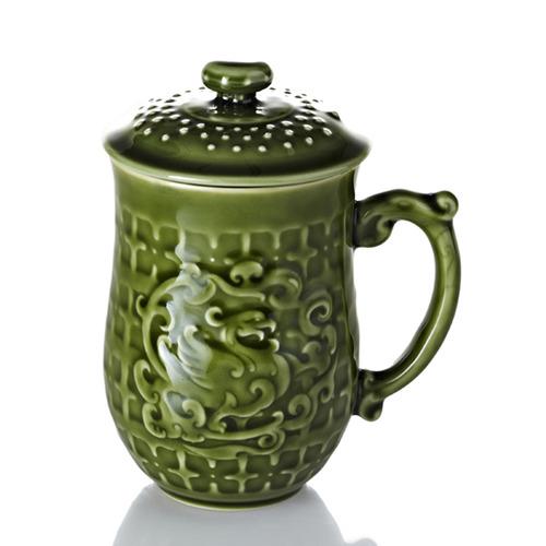 乾唐軒活瓷‧喜鳳來儀杯  綠釉