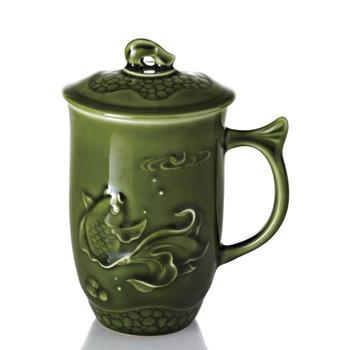 乾唐軒活瓷‧魚喜高杯 ( 綠釉 )
