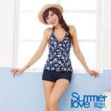 【SUMMERLOVE 夏之戀】英式浪漫長版兩件式泳衣S14702