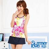 【SUMMERLOVE 夏之戀】棕櫚葉長版三件式泳衣S14705