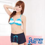 【SUMMERLOVE 夏之戀】藍白水漾三件式泳衣S13786