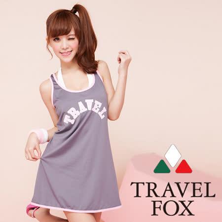 【TRAVELFOX 旅狐】運動風印字外搭連身裙C13704-F