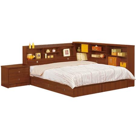 HAPPYHOME 羅爾5尺胡桃色書架型雙人床166-1(只含床頭-床底-收納櫃-床頭櫃、不含床墊)