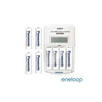 Panasonic國際牌eneloop低自放充電電池組(液晶衝電器+4號8入)