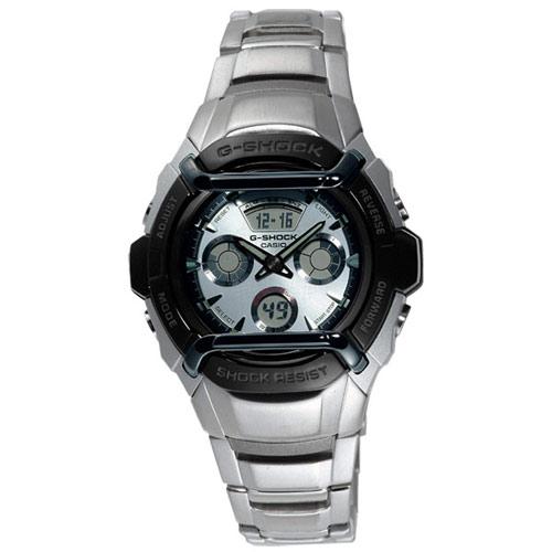 CASIO G-SHOCK 王者之風競速運動雙顯錶(銀)