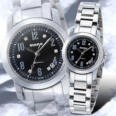 mono MILANO SERIES系列 晶漾典藏時尚腕錶(小-黑藍)