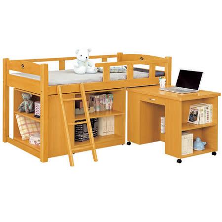 HAPPYHOME 貝莎3.8尺檜木色功能組合床組193-7(不含床墊-含收納櫃-活動書桌-床架)