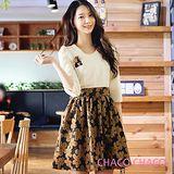 預購【CHACO韓國】典雅珍珠圍領花朵裙擺五分袖洋裝CLEA-O-28(杏白色M/L)