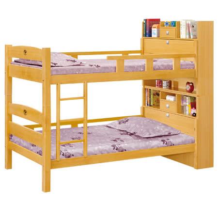 HAPPYHOME 洛克3.5尺檜木色功能雙層床195-2(不含床墊-只含床架-床頭)