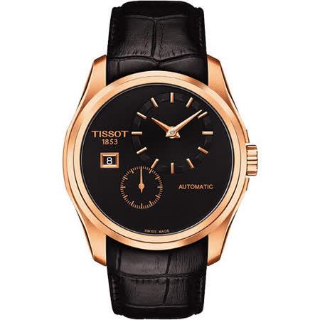 TISSOT Couturier 建構師偏心系列機械腕錶-黑x玫塊金框 T0354283605100