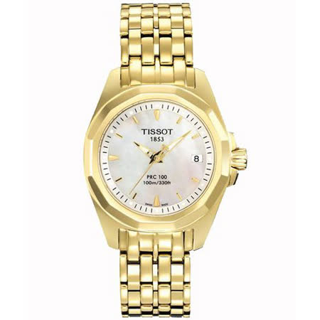 TISSOT PRC100 經典鋼帶女錶-金 T0080103311100