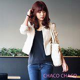 預購【CHACO韓國】高貴優雅小香款毛呢料合身短版外套CLDA-J-2*杏白色M/L