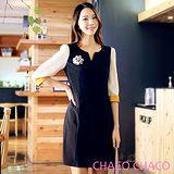 預購【CHACO韓國】小V領配色修身五分袖OL通勤洋裝CLEA-O-2(丈青色M/L)