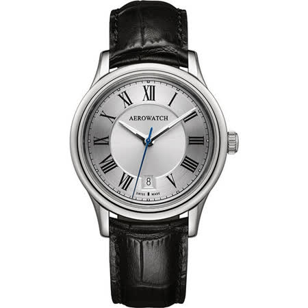 AEROWATCH 經典羅馬旗鑑腕錶-銀x黑 A24962AA01
