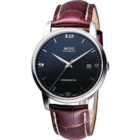 MIDO Baroncelli III 天文台認證機械腕錶-黑/咖啡 M0104081605110