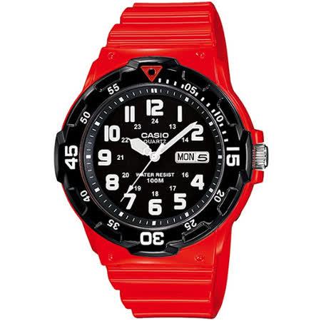 CASIO 玩色魅力潛水風格休閒運動錶(紅)MRW-200HC-4B