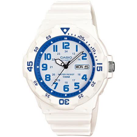 CASIO 玩色魅力潛水風格休閒運動錶(白X藍)MRW-200HC-7B2