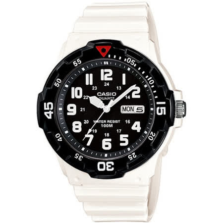 CASIO 玩色魅力潛水風格休閒運動錶(白X黑)MRW-200HC-7B