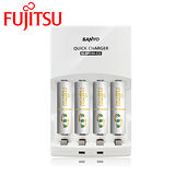 SANYO三洋 智慧型極速充電組(內附Fujitsu 富士通4號充電電池4入)【贈電池收納盒】