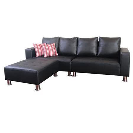 【Bernice】ECO高質感透氣皮L型沙發組260CM - 黑皮