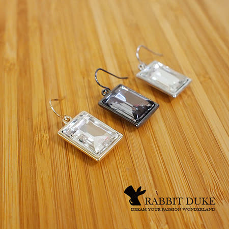 【Rabbit Duke】經典歐美風格 個性方塊四方型金屬大寶石耳環
