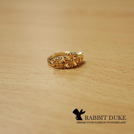【Rabbit Duke】經典歐美風格 個性克羅心風格十字花設計戒指