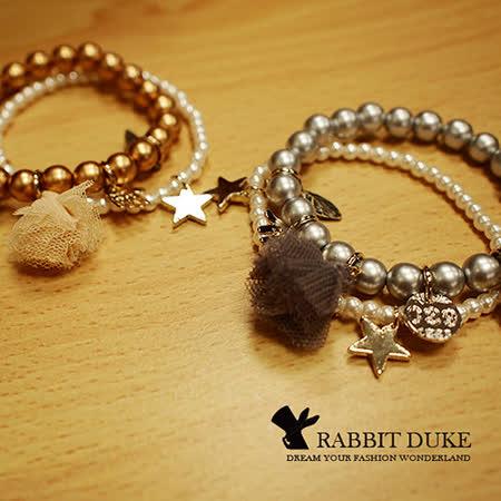 【Rabbit Duke】經典歐美風格 個性金屬色繽紛串珠蕾絲手鍊