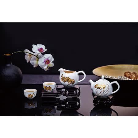 乾唐軒活瓷‧蝴蝶蘭花茶具組(雪花白/一壺+六杯+茶海)
