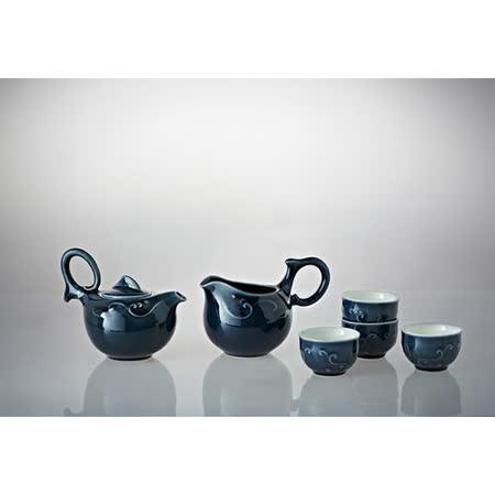 乾唐軒活瓷歡樂有餘茶具組(礦藍/一壺+六杯+茶海)