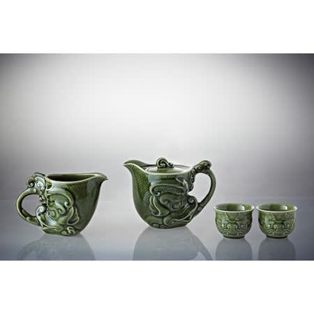 乾唐軒活瓷‧新龍首茶具組(綠釉/一壺+六杯+茶海)