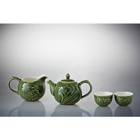 乾唐軒活瓷‧蝴蝶蘭花茶具組(綠釉/一壺+六杯+茶海 )