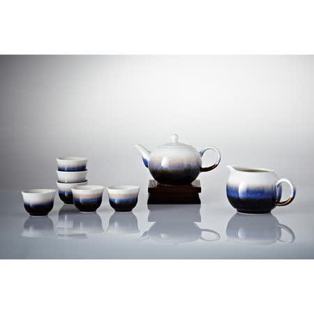 乾唐軒活瓷‧雪晶小圓融茶具組(雪晶釉/一壺+六杯+茶海)