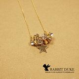 【Rabbit Duke】現貨 經典歐美風格 個性多筒小鑽拼接星星好搭款長項鍊
